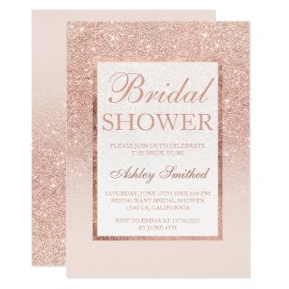Faux rose gold glitter elegant chic Bridal shower Invitation