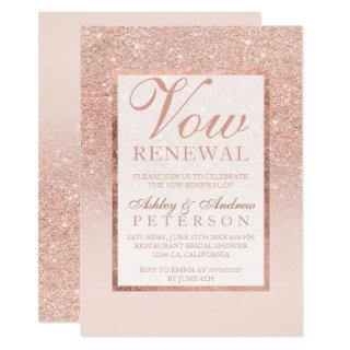 Faux rose gold glitter elegant chic Vow Renewal Invitation