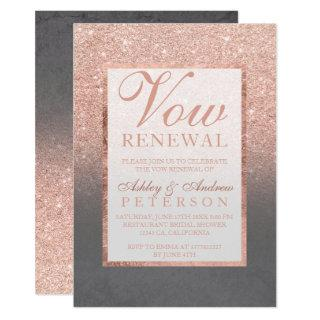 Faux rose gold glitter grey cement Vow Renewal Invitations
