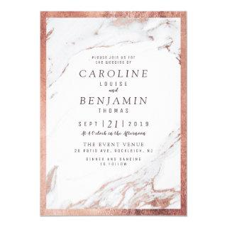 Faux rose gold marble luxury modern wedding invitation