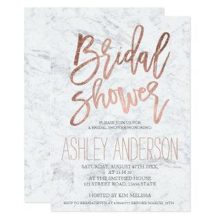 Faux rose gold typography marble bridal shower invitation