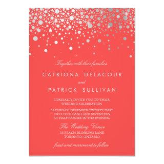 Faux Silver Foil Confetti Dots Coral Wedding Invitation