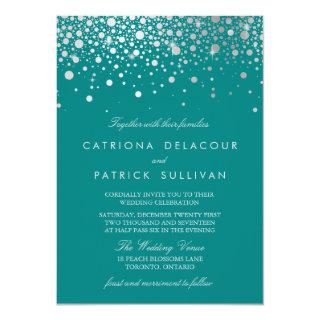 Faux Silver Foil Confetti Dots Teal Wedding Invitations