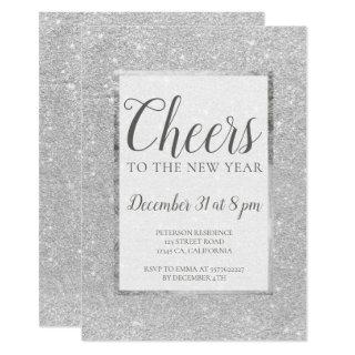 Faux silver glitter New years Eve Invitations