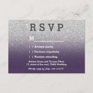 Faux silver glitter purple ombre RSVP wedding