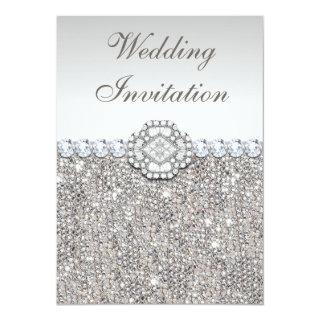 Faux Silver Sequins and Diamond Images Wedding Invitations
