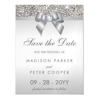 Faux Silver Sequins Bow Save The Date Wedding Magnetic Invitations
