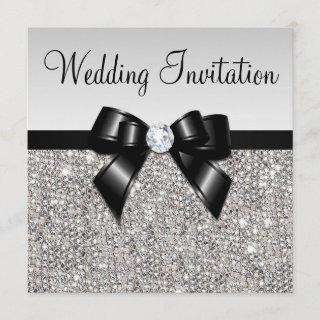 Faux Silver Sequins Diamonds Black Bow Wedding Invitation
