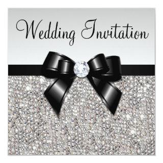 Faux Silver Sequins Diamonds Black Bow Wedding Invitations