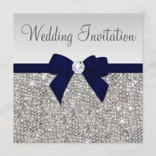 Faux Silver Sequins Diamonds Dark Navy Bow Wedding Invitation