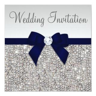 Faux Silver Sequins Diamonds Dark Navy Bow Wedding Invitations