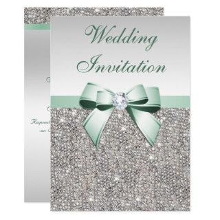 Faux Silver Sequins Diamonds Mint Bow Wedding Invitation