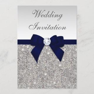 Faux Silver Sequins Diamonds Navy Bow Wedding Invitations
