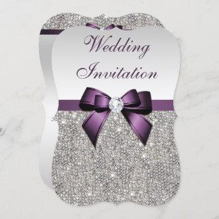 Faux Silver Sequins Diamonds Purple Bow Wedding Invitations