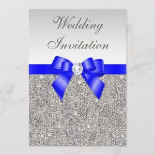 Faux Silver Sequins Diamonds Royal Blue Wedding Invitations