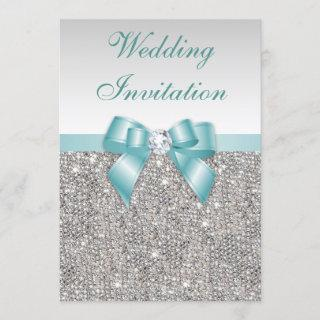 Faux Silver Sequins Diamonds Teal Bow Wedding Invitation