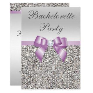 Faux Silver Sequins Lilac Bow Bachelorette Party Invitations