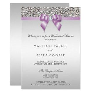 Faux Silver Sequins Lilac Bow Rehearsal Dinner Invitation