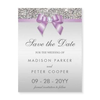 Faux Silver Sequins Lilac Bow Save The Date Magnetic