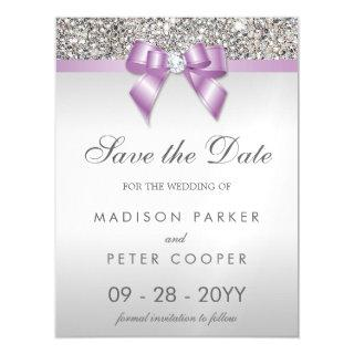 Faux Silver Sequins Lilac Bow Save The Date Magnetic Invitations