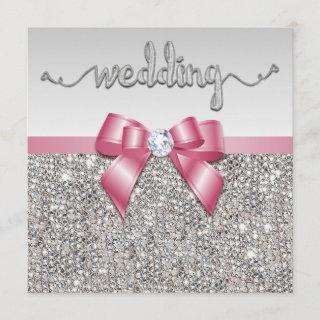 Faux Silver Sequins Pink Bow Wedding