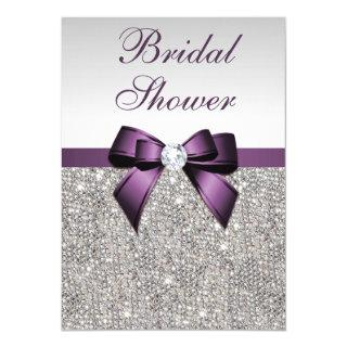 Faux Silver Sequins Purple Bow Bridal Shower Invitation