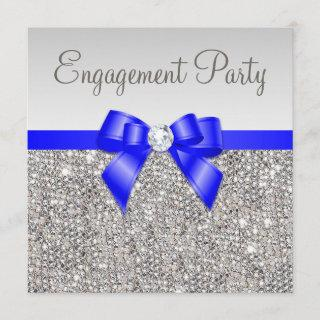 Faux Silver Sequins Royal Blue Bow Engagement Invitation