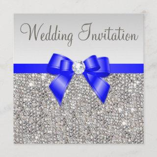 Faux Silver Sequins Royal Blue Bow Wedding Invitation