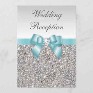 Faux Silver Sequins Teal Bow Wedding Reception