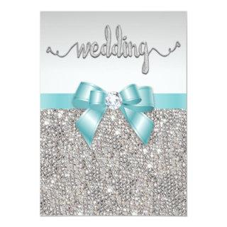Faux Silver Sequins Teal Bow Wedding Typography Invitations
