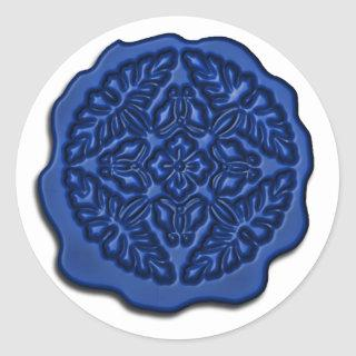 Faux Wax Seal, Blue Classic Round Sticker