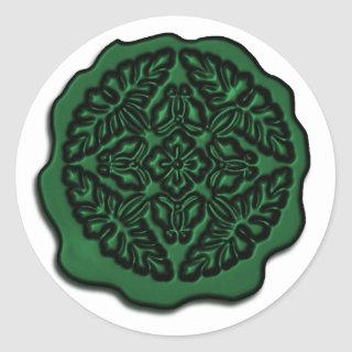 Faux Wax Seal, Emerald Classic Round Sticker