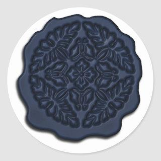Faux Wax Seal, Navy Blue Classic Round Sticker