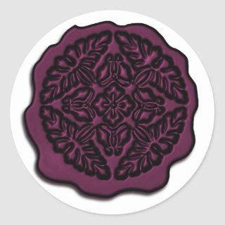 Faux Wax Seal, Plum Classic Round Sticker