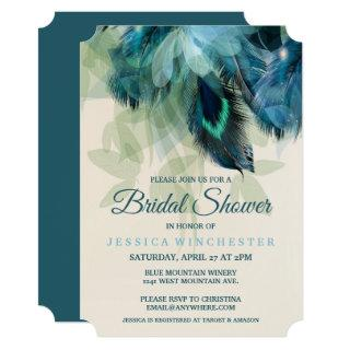 Feather Floral Bridal Shower Invitations