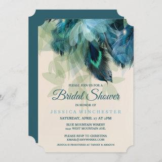 Feather Floral Bridal Shower Invitation