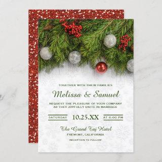 Festive Holly Berry and Pine Christmas Wedding Invitations