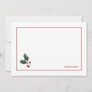 Festive Holly Personalized Stationery
