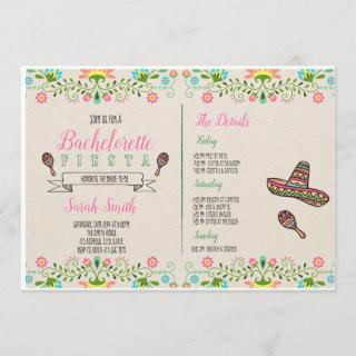 Fiesta bachelorette with Itinerary Invitations