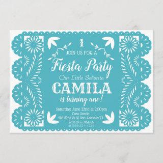Fiesta Birthday Party Invitations Papel Picado