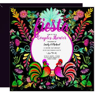 FIESTA Couples Shower Folk Art Flowers Cacti Birds Invitations