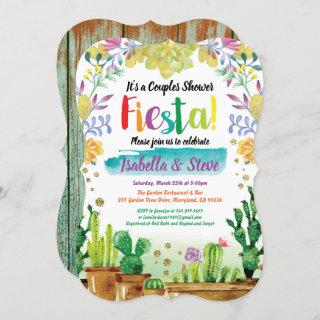 Fiesta couples shower Invitations with cactuc