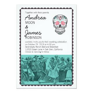 Fiesta Dancing Skeletons Skull Wedding Invitations