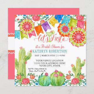 Fiesta Margarita Cactus Bridal Shower Girl Pennant Invitation