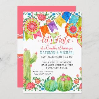 Fiesta Margarita Floral Cactus Art Couples Shower Invitation