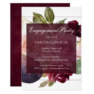 Fig Blossoms | Vintage Floral Engagement Party Invitations