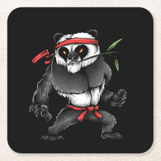 Fighting Panda Kooky Character Square Paper Coaster