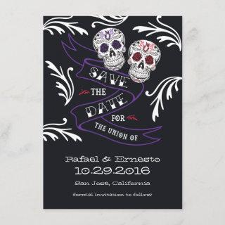 Filigree Sugar Skull Banner Save the Date 4.5x6.25