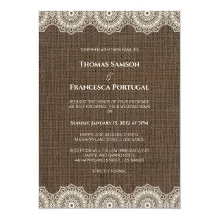 Filipiniana Lace on Burlap Wedding Invitation