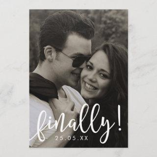Finally Script Font Overlay Save the Date Card